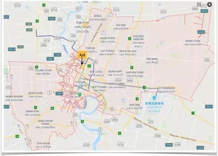Ari位於曼谷市中心地理位置
